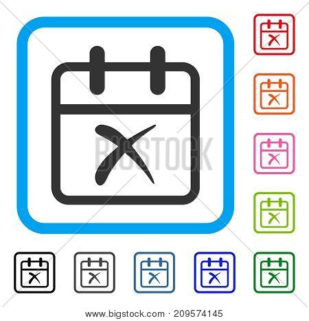 Cancel Day icon. Flat gray pictogram symbol in a light blue rounded rectangle. Black, gray, green, blue, red, orange color additional versions of Cancel Day vector. Designed for web and app UI.