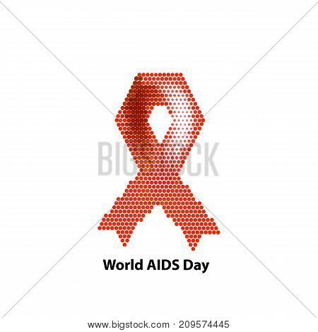 World AIDS Day. Ribbon red. Vector illustration