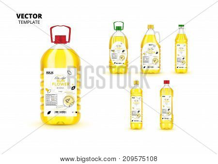 Extra virgin sunflower oil realistic plastic bottles with labels. Layout of food identity branding, modern packaging design. Healthy organic product, natural nutrition isolated vector illustration