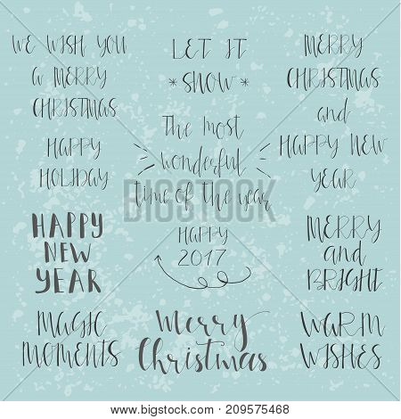 Wonderful And Unique Handwritten Christmas Wishes For Holiday Greeting Cards. Handdrawn Lettering