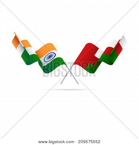 India and Oman flags. Waving flags. Vector illustration.