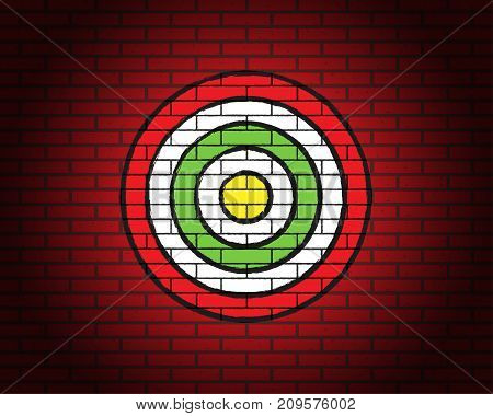 Target On Brick Wall With Illumination