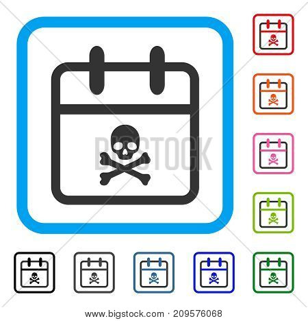 Skull Deadline Day icon. Flat gray iconic symbol inside a light blue rounded square. Black, gray, green, blue, red, orange color additional versions of Skull Deadline Day vector.