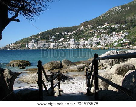 THE CALM TURQUOISE  WATER OF CLIFTON, CAPE TOWN, SOUTH AFRICA