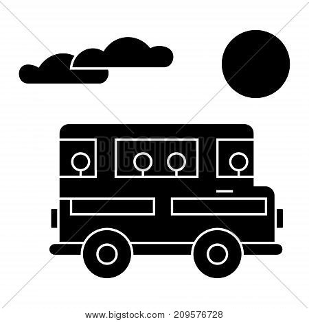 travel bus  icon, vector illustration, black sign on isolated background