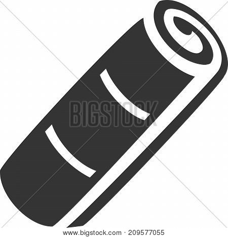 Towel Roll Filled with Plush Lines Creative Vector Icon Shape. Bath, Carpet or Cloth, Micro Fiber, Mat, Yoga Mats, Paper, Shop, Clean or Cleaning, and Dry or Drying. Brand New, Logo Fresh. Customer Guest Client Service and Satisfaction. Sign for Maintenan