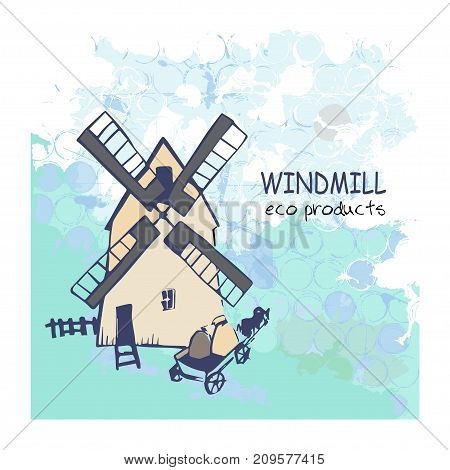 Cartoon field landscape with windmill and cart