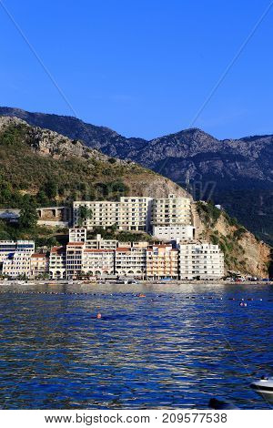 RAFAILOVICI, MONTENEGRO - SEPTEMBER 8, 2013: This is one of the small resort villages on the Adriatic coast in the autumn.