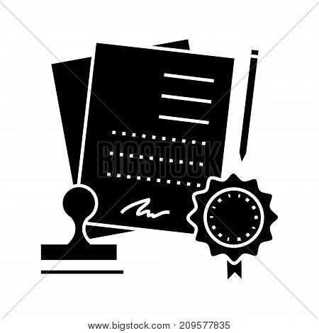 agreement contract  icon, vector illustration, black sign on isolated background
