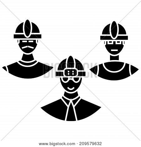 builders team  icon, vector illustration, black sign on isolated background