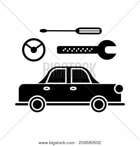 car service  icon, vector illustration, black sign on isolated background