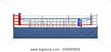 3d rendering of an empty boxing ring in front view isolated in white background. Boxing match. Fighting show. Sports and recreation.