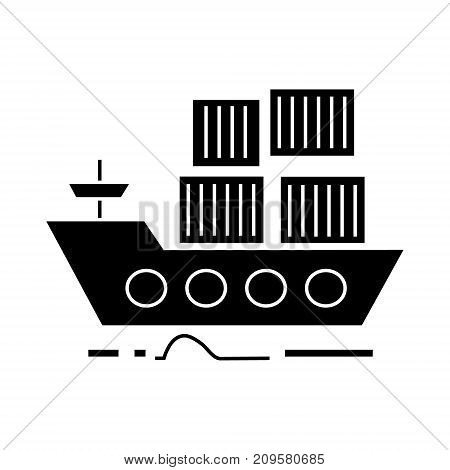 cargo delivery by sea ship  icon, vector illustration, black sign on isolated background