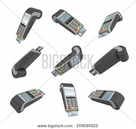 3d rendering of many POS terminals hanging on white background in different angles. Sales equipment. Retail business. Accepting cards.