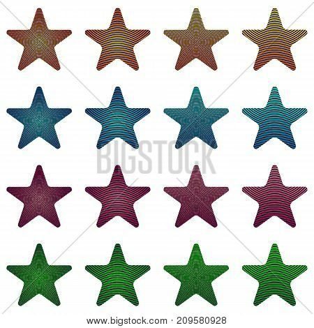 Rounded Star, Black Star Collection With Stripes And Colored Gradient