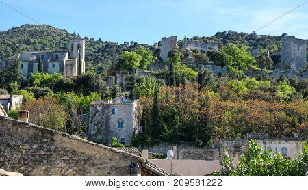 Panoramic view of Oppede-le-Vieux in Provence France