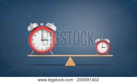 3d rendering of two almost identical red alarm clocks in large and small size stand on a balanced seesaw. Schedule and productivity. Time and profit comparison. Time is money.