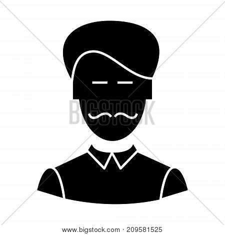 clerk with moustache  icon, vector illustration, black sign on isolated background