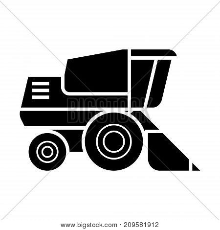 combine harvester  icon, vector illustration, black sign on isolated background