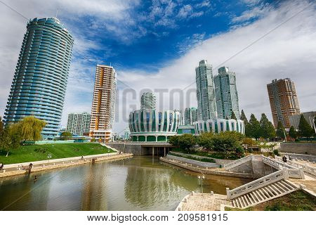 PYONGYANG.NORTH KOREA-OCTOBER 12.2017: New residential complex in the street Rémen
