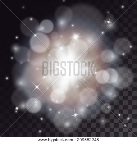 White flash with bokeh and particles special effects. Festive illumination and glitter.