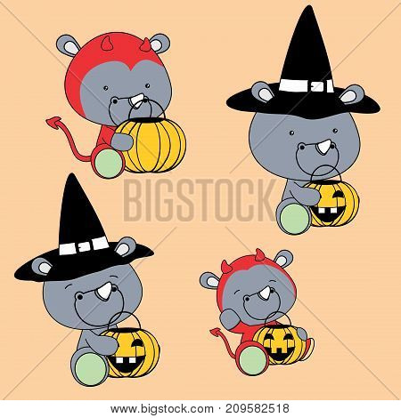 cute baby rhino halloween cartoon set in vector format very easy to edit
