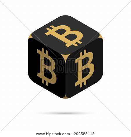 Bitcoin. Black Bitcoin Cube