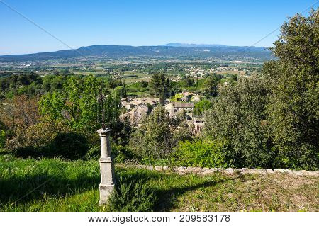 Panoramic view of town Oppede-le-Vieux in Provence France