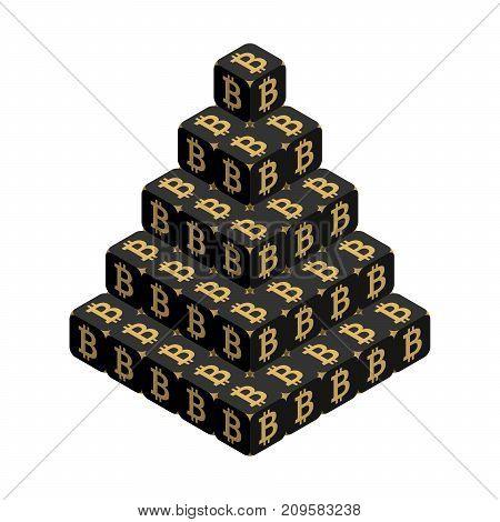 Bitcoin. Black Large Bitcoin Pyramid