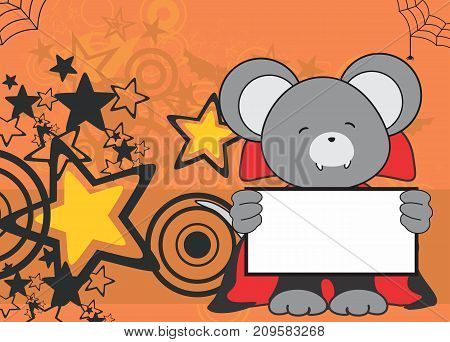 sweet mouse dracula costume halloween background in vector format