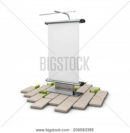 3D Illustration Of Blank Outdoor Advertising Panel On The Cobblestone