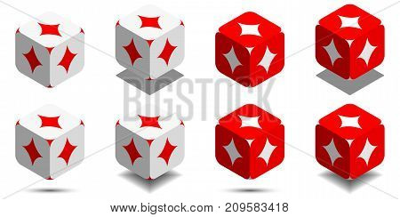 Cube With Card Diamond In Red And White Colors, Vector Icon Of Playing Diamond
