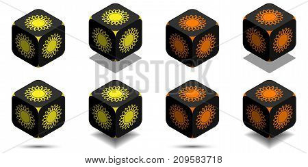 Cube With Sun In Orange And Yellow Colors