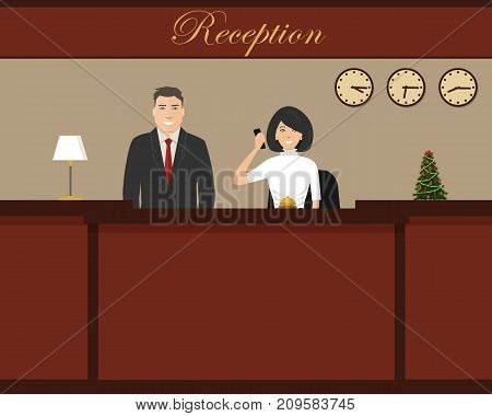 Hotel reception with Christmas tree. Young woman and man receptionists are stand at reception desk. Travel, hospitality, hotel booking concept. Vector illustration