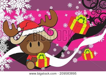 cute baby oxen santa reindeer hat cartoon background in vector format