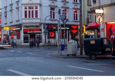 Frankfurt am Main, Hessen Germany - October 18 2017 : Red light district in Kaiserstrasse in Frankfurt am Main, Germany.