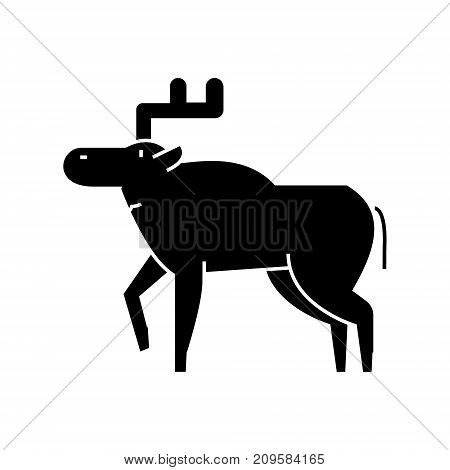 elk  icon, vector illustration, black sign on isolated background