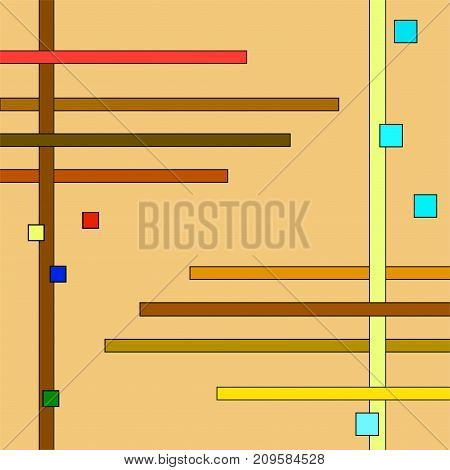 Geometric ornament of small multi colored squares and strips on beige background. Abstract square template, background in primitive ethnic style. Vector EPS 10