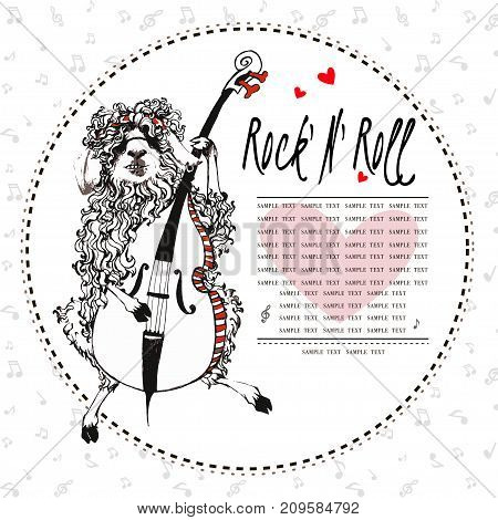 sheep  playing on the cello for your card, T-shirt design