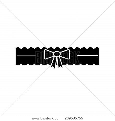 garter bride  icon, vector illustration, black sign on isolated background