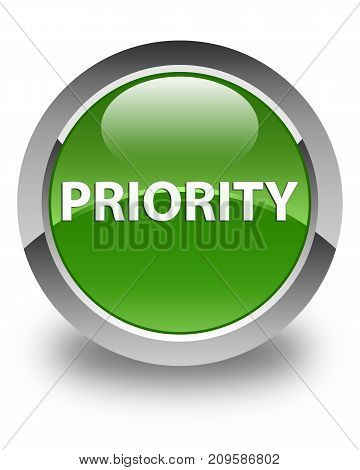 Priority Glossy Soft Green Round Button