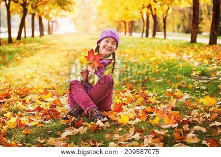 girl in the autumn leaves in the Park in the fresh air, the grass in the sun. closeup portrait of a girl, a hand holding a bright maple leaves.