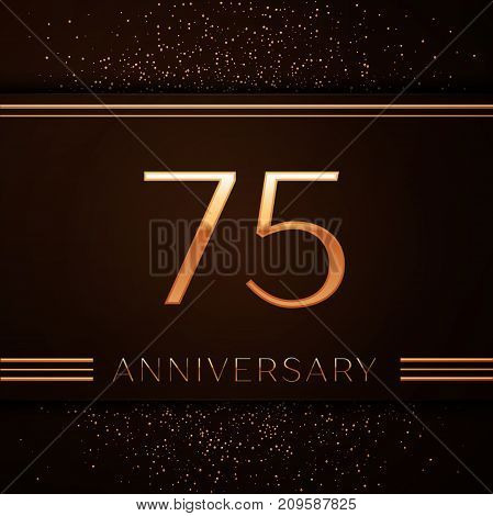 Realistic Seventy five Years Anniversary Celebration Logotype. Golden numbers and golden confetti on brown background. Colorful Vector template elements for your birthday party