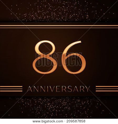 Realistic Eighty six Years Anniversary Celebration Logotype. Golden numbers and golden confetti on brown background. Colorful Vector template elements for your birthday party
