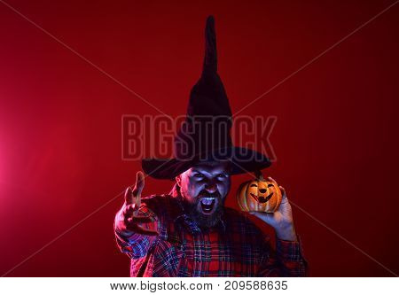 Halloween Man With Scary Face And Jack O Lantern