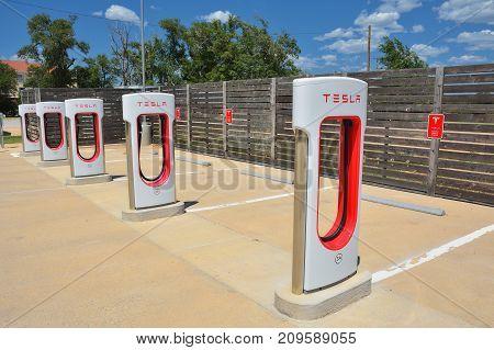 Tesla Supercharger Station In Shamrock, Texas.