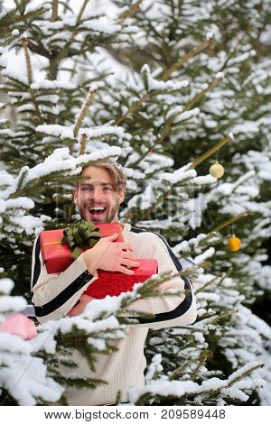 Macho smiling with presents on winter day. Man holding red boxes in snow wood. Merry Christmas and happy new year. Holidays celebration concept. Season greetings and xmas gifts.