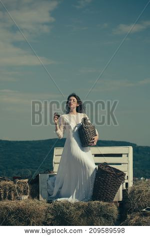 Model with alcohol drink on sunny day. Girl in white dress posing on blue sky. Woman with glass of wine wicker bottle and basket. Winery tour concept. Summer vacation holidays and celebration.