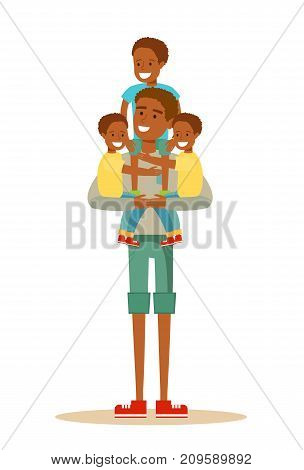 Happy Black father With Many Children. Stock flat vector illustration.