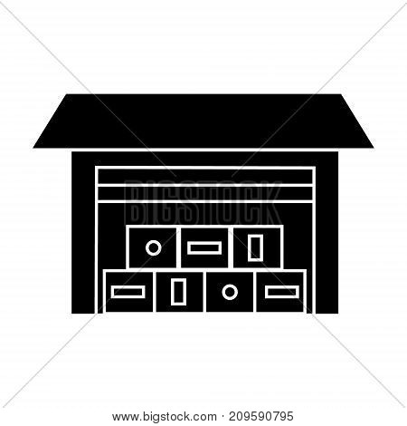 logistics warehouse  icon, vector illustration, black sign on isolated background
